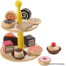 TOY wooden PASTRIES pretend play CAKE food kitchen *NEW