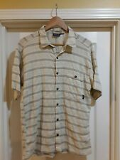 75befdcc PATAGONIA BEIGE SHORT SLEEVED BUTTON DOWN MEN'S SHIRT, ORGANIC COTTON