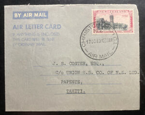 1949 Christchurch New Zealand Air letter Cover To Papeete Tahiti