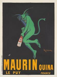 Originale Vintage Poster Cappiello Maurin Quina Verde Diavolo Aperitivo Francese