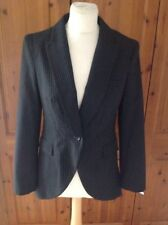 Lovely NEXT Tailored Black Pinstripe Fantail Jacket UK Size 12