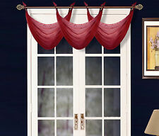 1 ELEGANT GROMMET VOILE SHEER VALANCE SWAG TOPPER WINDOW DRESSING K36 BURGUNDY