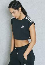 adidas Originals W Three Stripes Crop Black Tee Size UK 12 14 16 (629) UK 8 EU 34