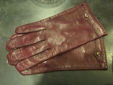 paire de gants en cuir bordeaux doublure en soie  taille 7 3/4