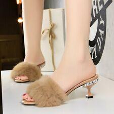 Fashion Women's Fluff Kitten Heels Peep Toe Mules Pumps Sandals Casual Shoes