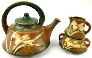 Roseville Zephyr Lily Brown Tea Pot Set Pottery USA Creamer Sugar Dish VTG