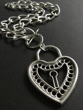SILVER CHUNKY CHAIN Choker Necklace With Toggle Fastener And Big Heart Pendant