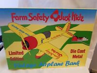 "1992 SPEcCAST VINTAGE AIRPLANE BANK ""FARM SAFETY 4 KIDS"". NIB"