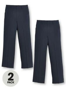 VERY BOYS 2 PACK NAVY BLUE PULL UP SKINNY FIT SCHOOL FORMAL TROUSERS AGE 12-13