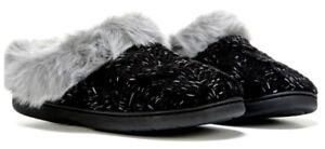 Dearfoams Black Cable Knit Memory Foam Clog Slipper w/Faux Fur Trim, S - $30