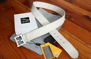 Authentic Fendi FF Buckle College Zucca Leather Belt White