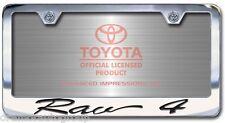 NEW Toyota Rav4 Chrome License Plate Frame Engraved Script Letters (Set of 2)