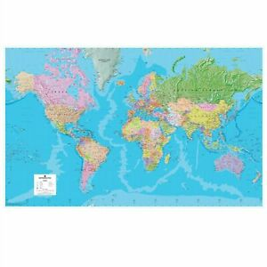 GIANT WORLD POLITICAL MAP LAMINATED GREAT FOR BUSINESS