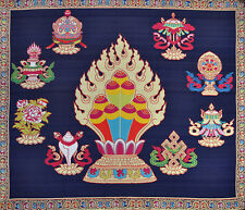 """* 28"""" ORIENTAL BROCADE PLACE MAT TAPESTRY RUG: FORTUNE LUCK 8 SYMBOL OF BUDDHA"""