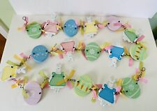 """80"""" Garland Pastel Easter Eggs & Girl Bunny Rabbits in Dresses w Gingham Ribbons"""