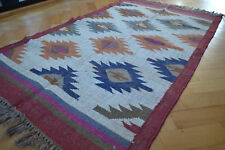 Kilim Rug Hand Made 90x150cm Natural Jute Wool Indian Beige Orange Diamond 3526