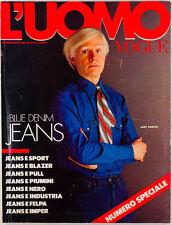ANDY WARHOL Harvard BRUCE WEBER Blue Denim Jeans Issue L'UOMO VOGUE magazine VTG