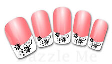 3D Nail Art Decals Transfer Stickers French Tip Design Flowers Stars (3D836)