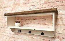 Farmhouse Shabby Chic Shelf with Hooks Brand New Hand Made