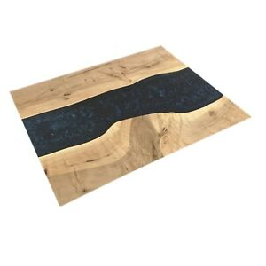 Epoxy Table, Live Edge Natural Wooden Table, Black Resin River Dining Table Top