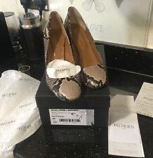 Ladies Hobbs Shoes 7 40 Berwick Square Toe Snake Print Black Neutral In Box