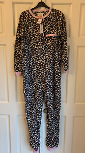 Primark Ladies Leopard Print Fleece Footless All-In-One Sleepsuit Size 12/14