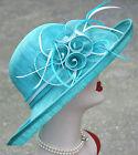 Womens Wedding Kentucky Derby Sinamay Dress Wide Brim Church Bridal Hat T145