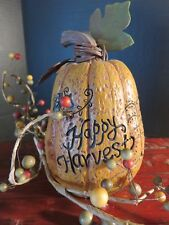 Primitive Happy Harvest Resin Pumpkin Autumn Leaves Fall Halloween Thanksgiving