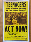 """Teenagers Act Now! poster, vintage feel, yellow and black, 17x11"""""""
