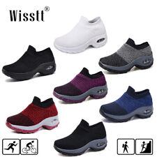 Women's Air Cushion Walking Running Sports Comfy Sock Sneakers Mesh Purple Shoes