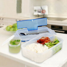 3 Compartments Plastic Food Container LUNCH BOXES With Bowl Spoon chopstick 1L