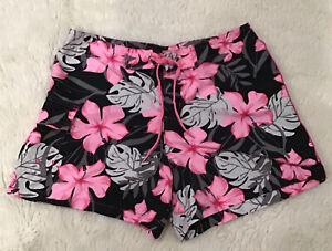 Pleasure Pier Women's Swimming Shorts Pink & Black Hawaii Floral Design Size S
