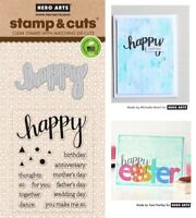 Hero Arts Stamp & Cut - Clear Stamps with Matching Dies - Happy, Birthday, Dance