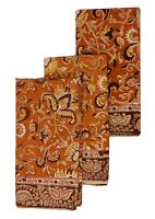 "3 Hand Dyed Orange Brown Block Print Paisley Fall Harvest Napkins 21"" Square EUC"