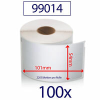 100x Etiketten 99014 kompatibel zu DYMO 54x101mm 220 Label/Rolle Adressetiketten