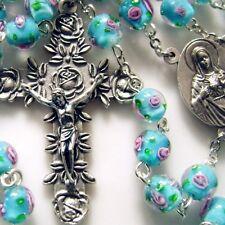 Handmade bule Veluriyam beads rosary necklace bracelet cross lot case box celtic