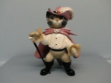 Rare Hagen Renaker DW Puss N Boots Glossy Shaded Cat w/ Brown White