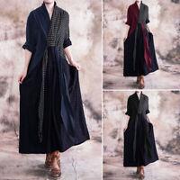 Mode Femme Simple Col V Manche Longue Couture Vérifier Plage Robe Dresse Plus
