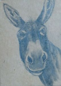 "ACEO ORIGINAL ""JACK ASS"" RKS Art studios GRAPHITE FARMHOUSE ANIMAL MULE"
