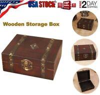 Vintage Wooden Trinket Jewelry Storage Box Handmade Treasure Case Decorative US
