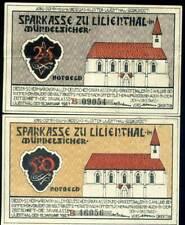 401186) Serie von 2 Notgeldscheinen aus Lilienthal, 15.1.1921