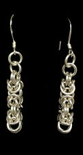 Chainmaille Sterling Silver Byzantine Earrings. 1 5/8 inches.
