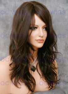 Long Layered Loose Body Waves Heat Safe Human Hair Blend Wig Medium Brown OCAL 6