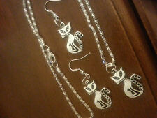 925 serling silver chain/tibetan silver cat Pendant earrings
