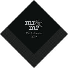 100 Mr & Mr Standard Two Groom Gay Personalized Printed Wedding Cocktail Napkins