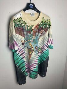 Vintage 1992 Grateful Dead Liquid Blue Tie Dye Original Tour T Shirt Rare Tee Xl