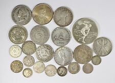 Vintage Silver World Coin Lot of (22) Mixed Silver Foreign Coins 175 grams