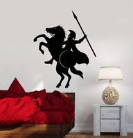 Vinyl Wall Decal Spartan Warrior On Horse With Spear Helmet Stickers (2268ig)
