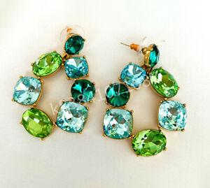 OSCAR DE LA RENTA Green Blue Crystal Zirconia Gold-plated Stud Earrings