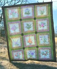 Quilted Lap Throw  Flowers of the month  51x60""